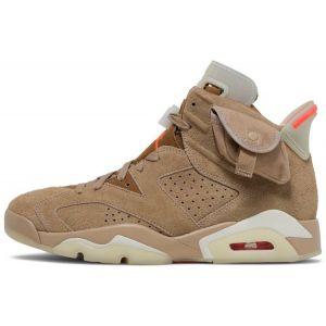 Fake Travis Scott x Air Jordan 6 'British Khaki' shoe's upper