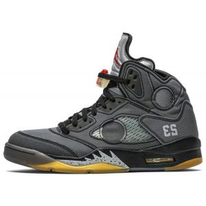 fake Jordan 5 Retro Off-White Black shoe's outside
