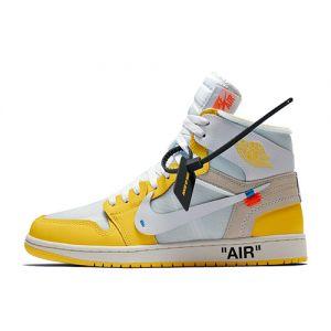 fake Off-White Jordan 1 High Yellow shoe's offical look