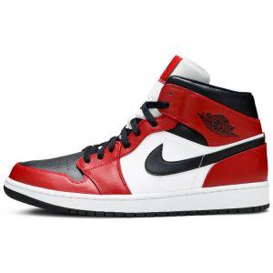 Fake Jordan 1 Mid 'Chicago Black Toe' shoe's upper