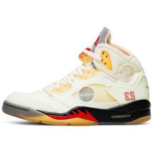 Fake Off-White Jordan 5 'Sail' shoe's outside